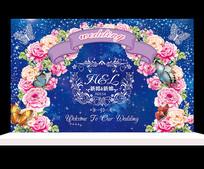 浪漫星空花卉婚礼背景设计