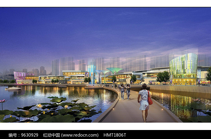 临水商业公园景观效果图图片