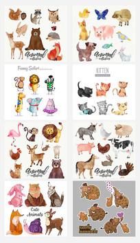 手绘水彩可爱动物素材