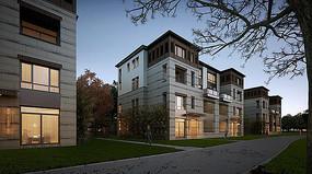 现代四层别墅住宅效果图