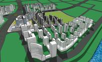 小区群景观模型