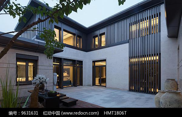 新中式别墅建筑效果图图片