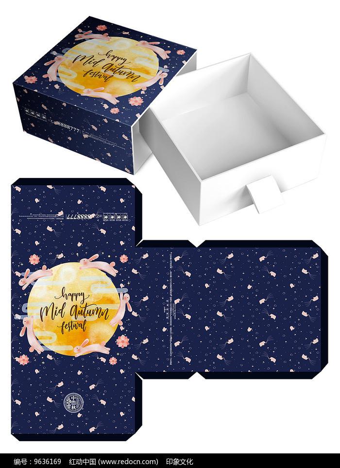 插画月饼盒模板设计图片