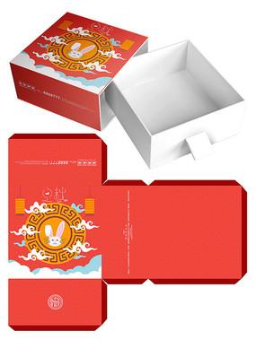 简约红色中秋节月饼礼盒包装
