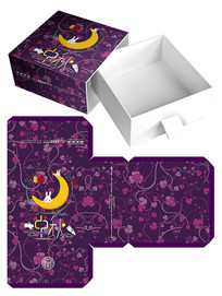 简约花纹中秋月饼包装盒模板