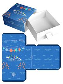 蓝色月饼食品包装礼盒模板