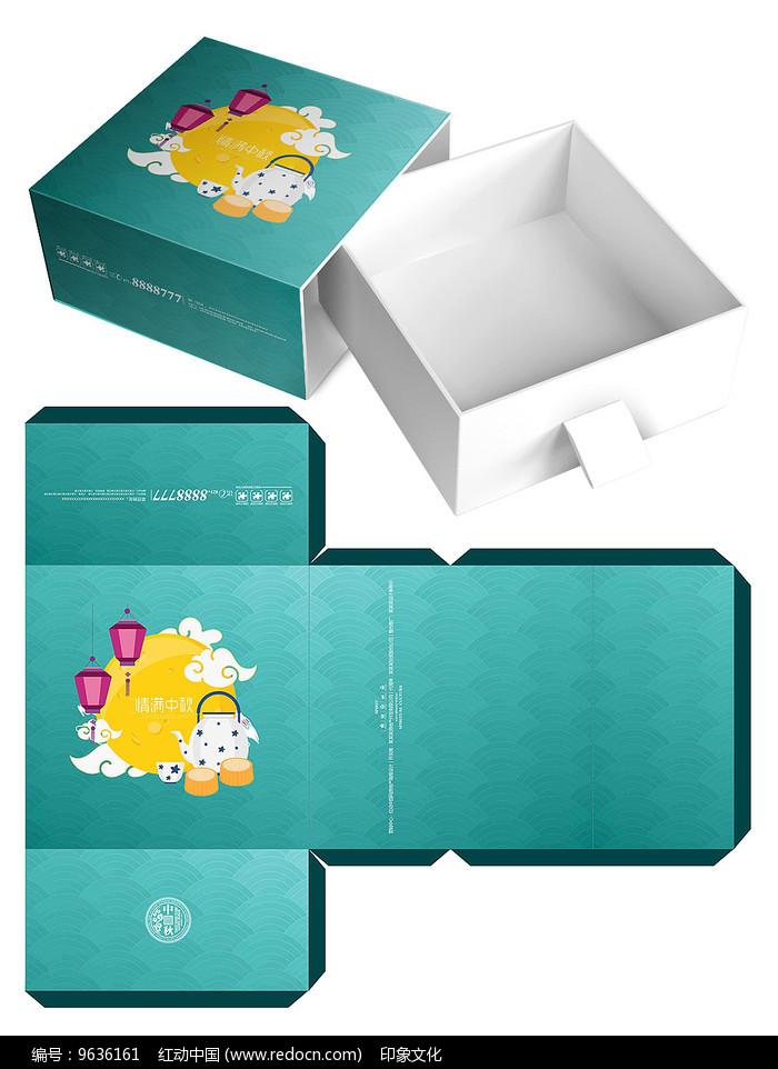 清新月饼礼盒包装设计图片