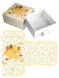 手绘可爱中秋月饼礼盒包装