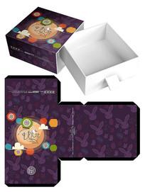 兔子花纹月饼礼盒包装模板
