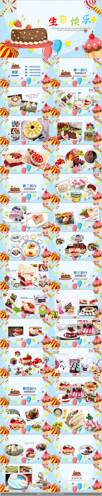 生日蛋糕生日相册PPT模板