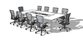 现代会议桌椅组合模型