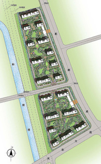 小区规划彩平效果图