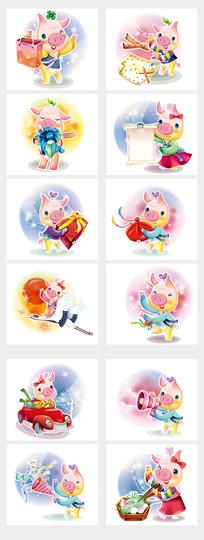 猪年可爱小猪元素