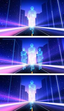 2组科技城市街道人物奔跑视频