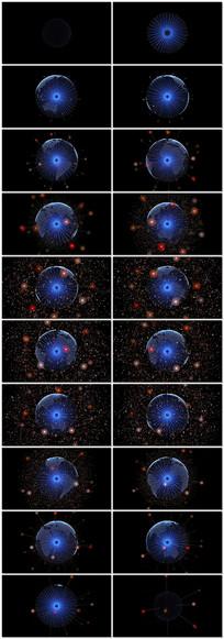 4k数字粒子球led背景视频