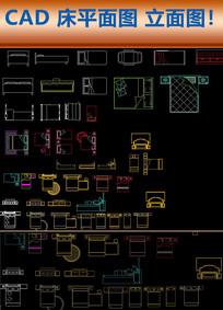 CAD床平面图库家具家居用品