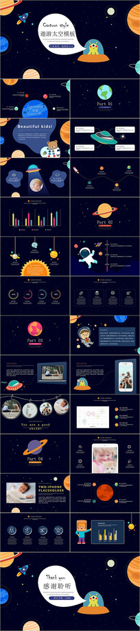 创意太空遨游儿童成长PPT