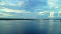 航拍黄昏大桥日落实拍视频