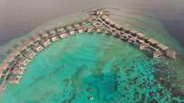 航拍马尔代夫的海4K实拍视频