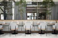 灰色座位室内植物餐厅意向