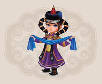 卡通蒙古女孩