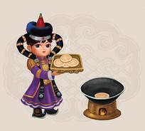 卡通蒙古女孩插画