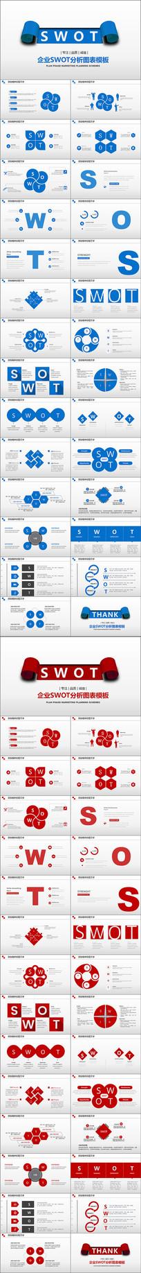 蓝红SWOT分析PPT模板