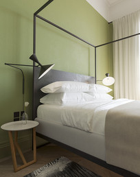 绿色背景简约卧室