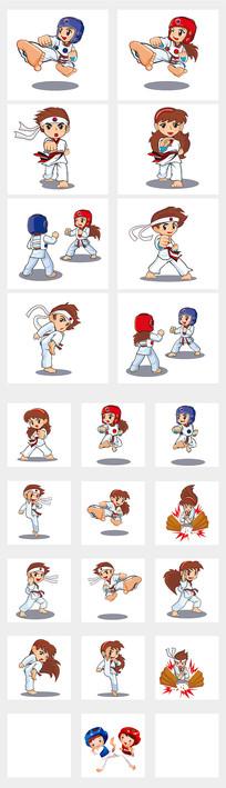 跆拳道少男少女插画