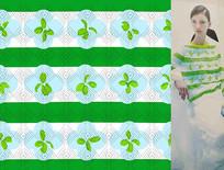 矢量绿色条纹花衣服印花图案