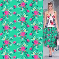 矢量满版红绿花朵裙裤印花图案