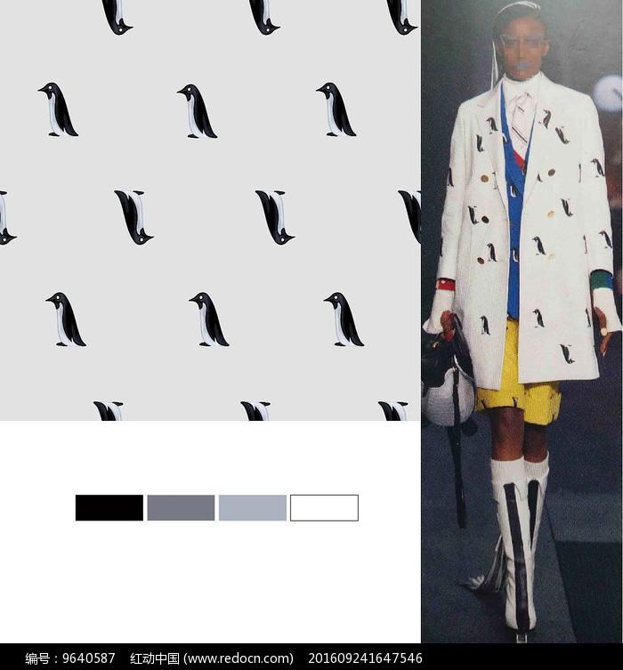 矢量企鹅衣服面料印花图案