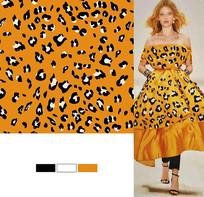 矢量橘色豹纹花印花图案