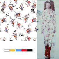 矢量涂鸦运动元素裙子印花图案