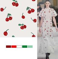 矢量珍珠草莓长裙面料印花图案