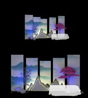 新中式舞台背景马头墙 max
