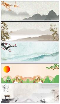 中国风水墨山水花鸟分层背景