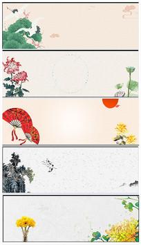 中国风水墨山水花鸟海报背景
