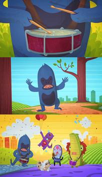动画儿童乐园表演AE模板