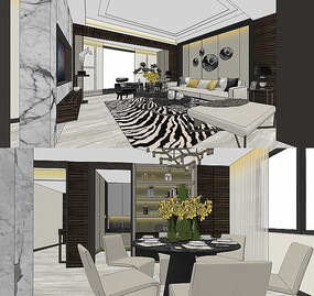 港式现代客厅SU模型