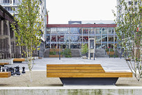 木质几何造型公共座椅 JPG