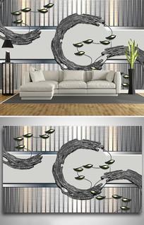 铁艺金属树枝鸟电视背景墙