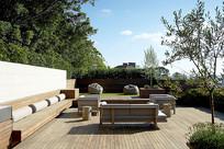 屋顶花园木质沙发座椅