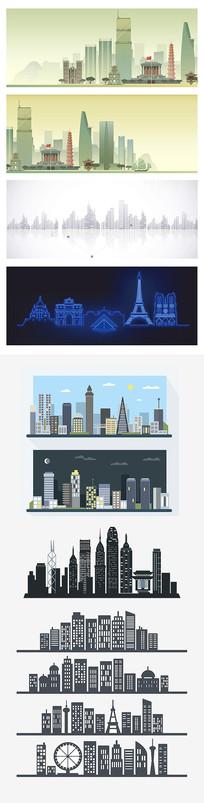 现代城市高楼插画