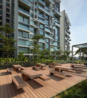 小区广场公共木质桌椅家具