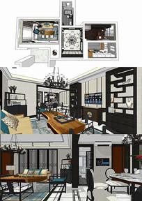 新中式风格客餐厅书房SU