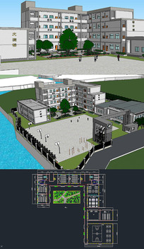 大中小学草图SU模型含CAD skp