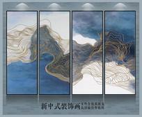 金线山水抽象装饰画