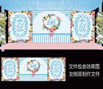 蓝粉花卉婚礼舞台背景设计