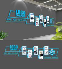蓝色企业文化墙展模板